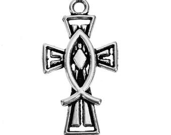 10 Antique Silver Jesus/ Christian Fish Ichthys Cross Charm/Pendants (B248d)