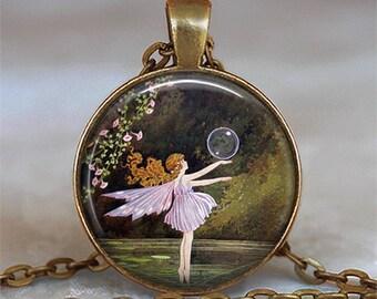 Bubble Ballet Fairy pendant, fairy ballet pendant fairy jewellery fairy jewelry fairy necklace ballet jewelry key chain key ring key fob