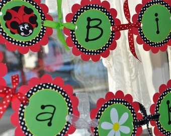 Ladybug Birthday Banner - Girls Birthday Party - Personalized Party Decorations - Red, Green, Black
