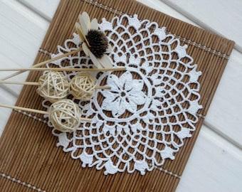 Small crochet doily White lace doily Handmade cotton doilies Small doilies Crochet coaster 364