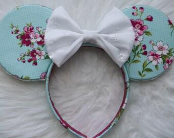 Blue Floral Ears