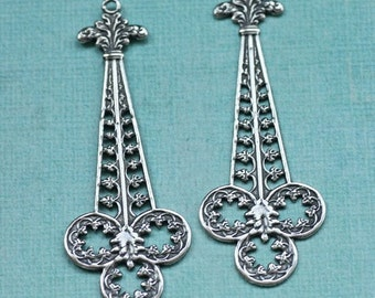 2 Silver Filigree Drops Large 1757