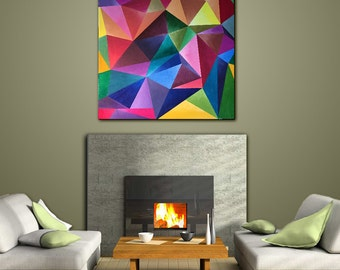 Wall Art Painting Acrylic Geometric Contemporary Home Decor Abstract  Modern Square MultiColored Red Green Title: CRYSTAL COLORS