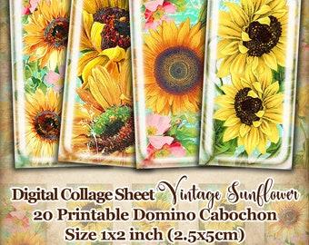 Vintage Sunflower printable dominoes 1x2 inch, digital collage sheet, instant download, domino digital images