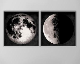 Giant Moon Posters, Moon Art Print Set, Square Full Moon Prints, Wall Art, Home Decor, Luna Posters, Moon Print, Lunar Moon Print, Moon Set