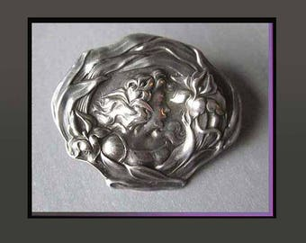 Rainbow GODDESS Iris, Unger Brothers Antique Art Nouveau, Sterling Silver Brooch, Beautifully Detailed Portrait, Vintage Jewelry, Women