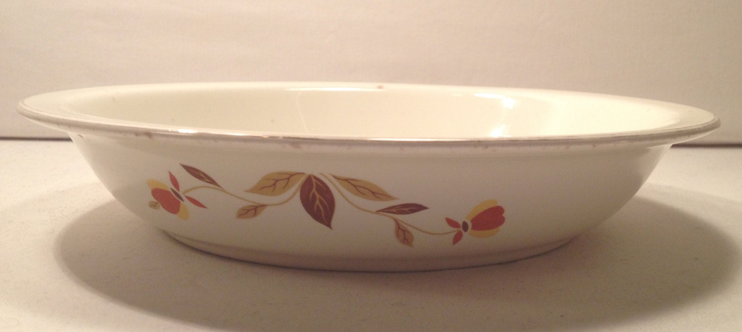 + $13.33 shipping & Pie Plate Hall Pattern Jewel Tea Autumn Leaves Superior Quality ...
