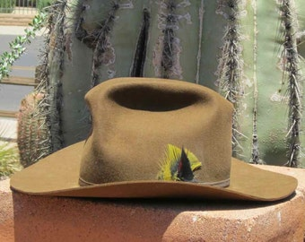 8c7956cf486 Brown Bailey Cowboy Hat With Yellow and Black Feathers in Ribbon Hatband