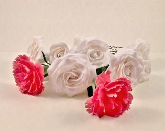 White Fimo roses for bridal hairstyle handmade flower-Polymer clay handmade white roses for hairstyle made in Italy