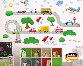 Vehicles, cars, planes, road wall decals, wall stickers, nursery // Fahrzeuge, Wanddekoration Wandaufkleber Wandsticker WANDTATTOO Art 903