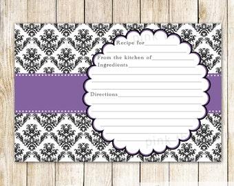 wedding shower recipe card bridal shower recipe card damask purple recipe card black damask purple