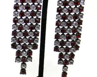 Vintage 1980 Red And White Rhinestone Dangle Clip Style  Earrings Rhinestone Jewelry 20'S Style Boho Style ArtDeco