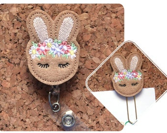 Floral Bunny Badge Reel ID Holder , Felt Easter Planner Paper Clip, Retractable Lanyard, Paperclip, Magnet, Bookmark, Cute Pin, ID Tag, 1717