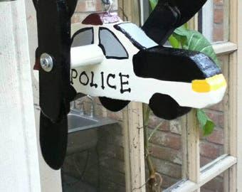 Handcrafted,Police Car Whirligig,Yard Art, Wood&Metal, Garden Decor