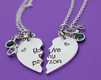 You're my person Necklace Set - Best Friend Jewelry - Anatomy quote - BFF Jewelry - Youll always be my person
