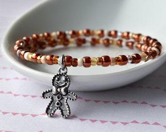 Bead Bracelet - Gingerbread Man - Beaded Bracelet - Seed Bead Bracelet - Charm Bracelet - Christmas Jewellery - Christmas Gift