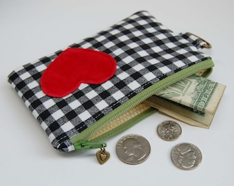 Coin Pouch Red Heart on Black Gingham