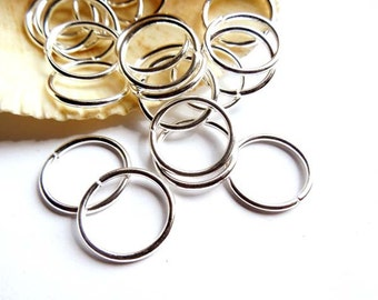 50 Silver Plated Open Loop Jump Rings -16mm - 7-10