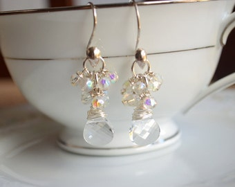 Swarovski crystal and sterling silver wire wrapped earrings, bridal jewelry gift for her