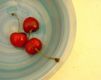 food photography, cherries photo, kitchen photography, BOWL OF CHERRIES, fruit, aqua, red, buttercup, pale yellow, kitchen art, shabby chic