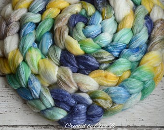 Merino/ Seacell 'Snorkeling' 4 oz spinning fiber, hand dyed roving wool, Created by ElsieB combed top, wool fiber for spinning, navy