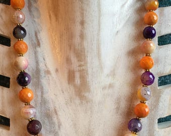 Multicolor Faceted Agate Round Beads on Goldtone Clasp