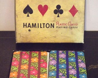 Vintage Playing Cards Double Deck HAMILTON Flowers