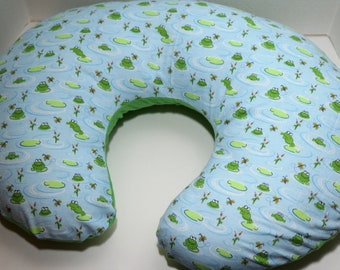 Reversible Boppy Nursing Pillow Cover: Frogs and Dragonflies with Green flannel