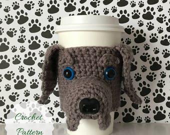 Trending Crochet, Weimaraner Mug Cozy Pattern, Dog Cozies, Amigurumi Dog, Crochet Pattern Dog, Crochet Dog Pattern, Dog Crochet Pattern