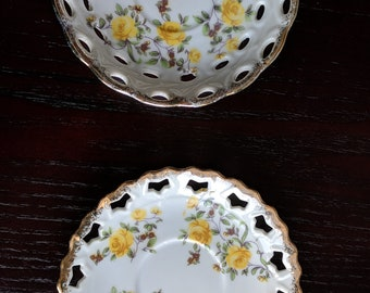 Two Vintage Fine China Lattice Plates