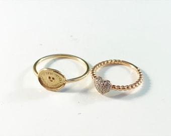Two Vintage 14k Love Heart Rings. One w Diamonds.