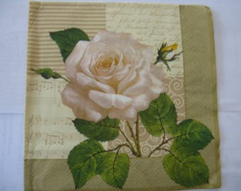 set of 2 romantic white pink paper napkins