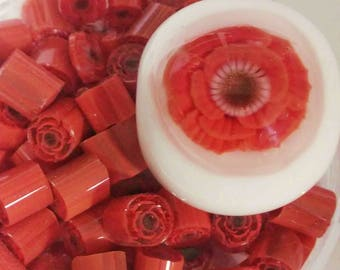 3D Flower Murrini, 104 COE,  Coral with layered petals