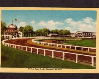 Maryland Postcard, Baltimore Maryland Postcard, Baltimore Postcard, Pimlico Racetrack, Racing Postcard, Race Track Postcard,Raceway Postcard