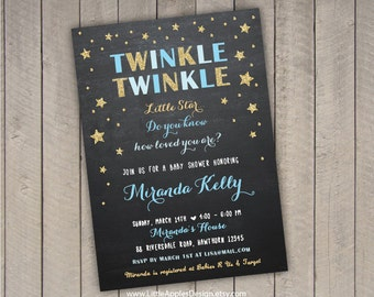 twinkle twinkle invitation / twinkle twinkle baby shower / twinkle twinkle little star baby shower invitation / twinkle star invitation