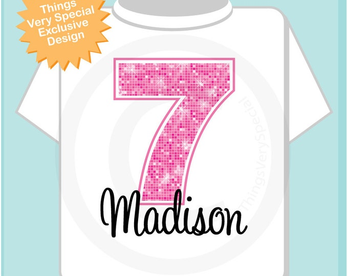 Seventh Birthday Shirt, Pink 7 Birthday Shirt, Any Age Personalized Girls Birthday Shirt Pink Age and Name Tee for kids (10282013a)