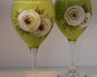 Hand Painted Floral Wine Glass in Citrus Green