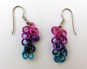 Chain Maille Earrings, Shaggy Loops Earrings, Multicolor Earrings, Multi Color Jewelry, Jump Ring Earrings