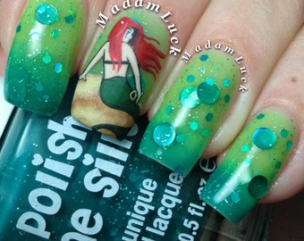 Mermaid Tears- -Color Changing Thermal Nail Polish:  Custom-Blended Indie Glitter Nail Polish / Lacquer