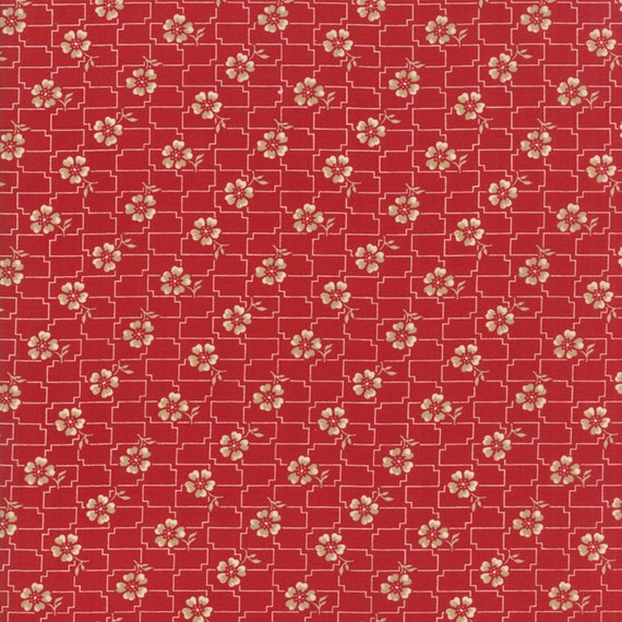Farmhouse Reds Floral With Grid, Tan and Cream on Red by Minick And Simpson. Red And Cream Quilt Supply For Moda Fabric By The Yard 14852 11
