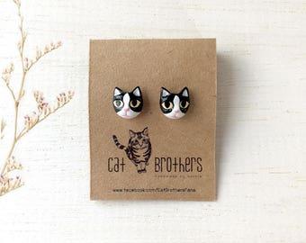 Tuxedo Cat Earrings, Cat Stud Earrings, black cat earrings, polymer clay cat, cat sculpture, cat lover gifts