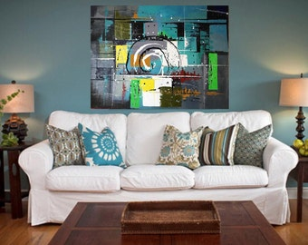 Interior painting. Abstraction. Vibes of the city. Oil painting.