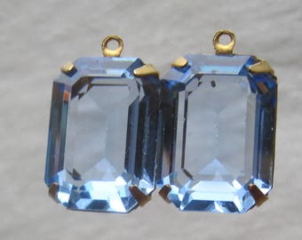 21MM, 1 Ring, Swarovski Crystal, Light Sapphire, Unfoiled, Rectangle, Octagon, Rhinestone, Brass, OB, Prong, Setting, Connector,