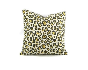 Black Gold and White Leopard print pillow cover