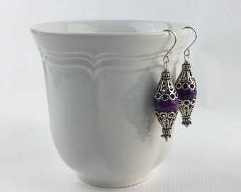 Handmade Earrings featuring Dyed Fossil Beads in Purple, with Bali Silver and Sterling Silver Ear-wires