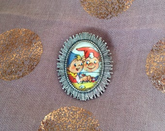 Noddy and Big Ears, Silver coloured brooch, made with vintage 1960's illustration