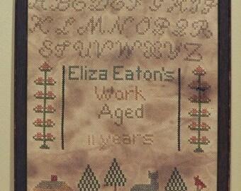 Primitive cross stitch, sampler chart/pattern,primitive needlework, band sampler, schoolgirl sampler, early American, Eliza Eaton