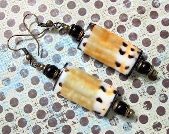 Golden Tan, Brown and White Seashell Earrings (2766)
