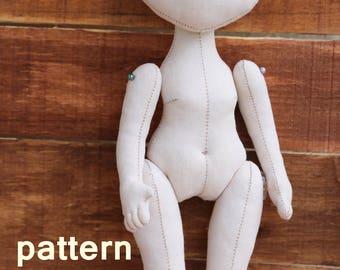 PDF Doll (10.6in), Soft Doll PATTERN, Doll, Cloth Doll Pattern, Digital Download pattern. instant download, body of a doll, textile doll