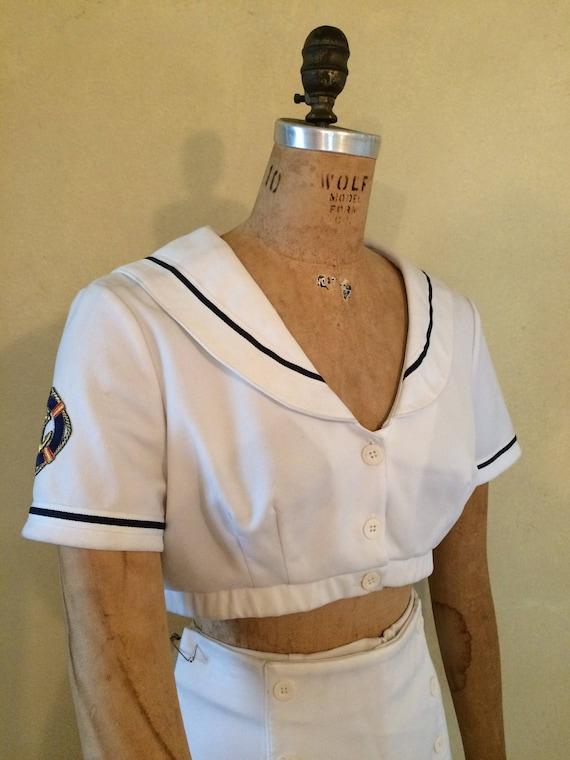Erwachsene Frauen 40er Jahre Pinup Girl Matrosen Kostüm Ernte